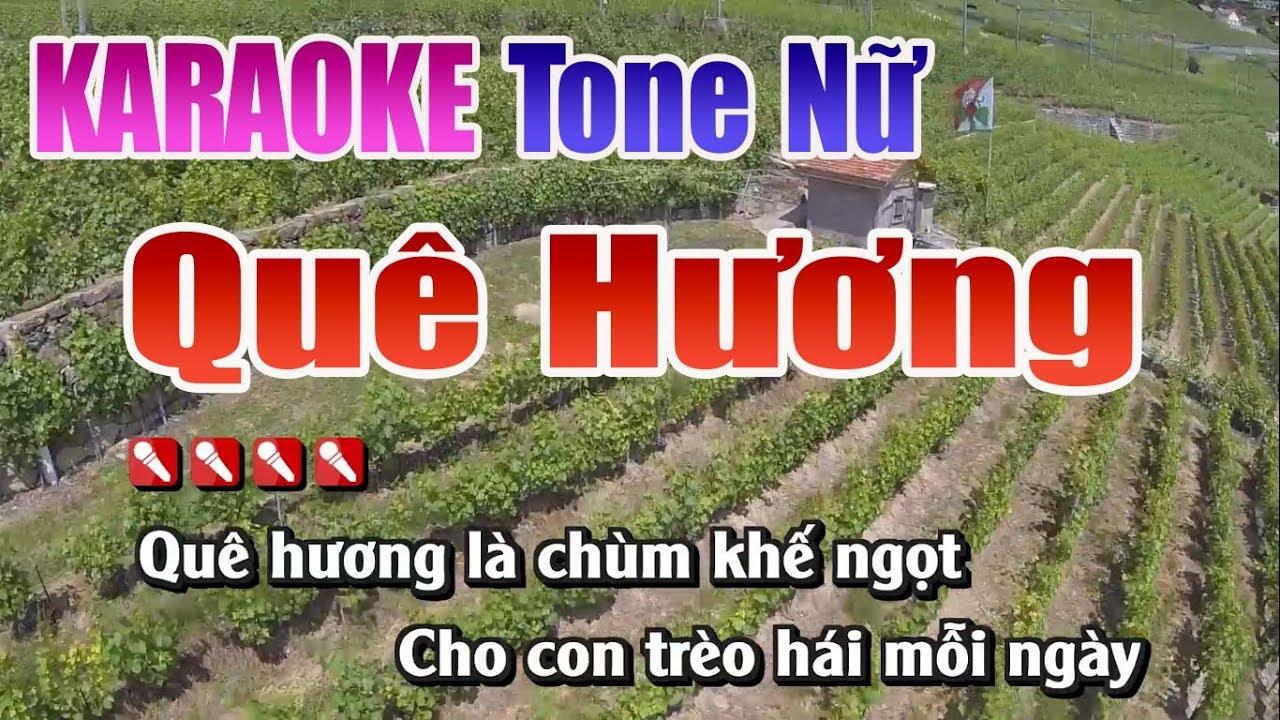 Quê Hương Karaoke | Tone Nữ – Nhạc Sống Thanh Ngân