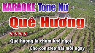 Quê Hương Karaoke | Tone Nữ - Nhạc Sống Thanh Ngân