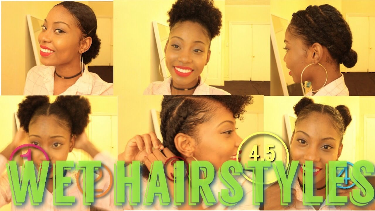 4 5 Natural Hair Styles On Wet Or Dry Hair Youtube
