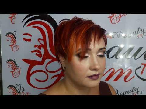 Ярко медно рыжий цвет волос с цветными прядями . Урок 7.
