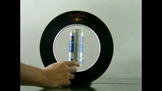 Magnetic levitating redbull can display