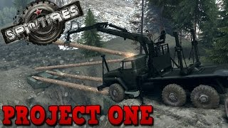 Spintires | Project One Map | Building The Bridge | Unofficial New Map | Mod | 60fps