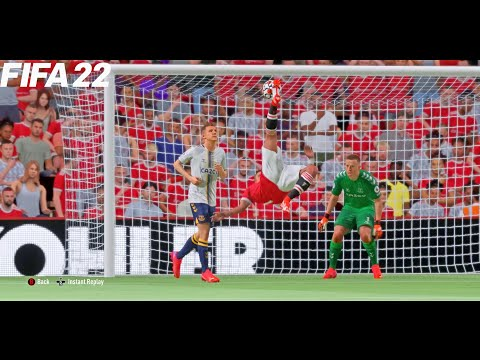 FIFA 22   Manchester United vs Everton - Ronaldo Bicycle Kick goal - Premier League - Full Gameplay thumbnail