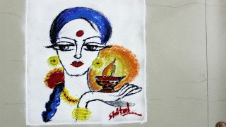 simple and easy Poster Rangoli-  Lady with Diya- diwali rangoli Design