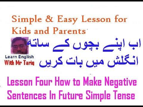 Lesson Four How to Make Negative Sentences In Future Simple Tense In Urdu! Hindi [english grammar ]
