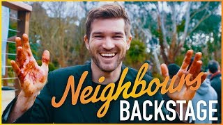 Neighbours Backstage - Ben Hall (Ned Willis) Stabbed In The Maze!