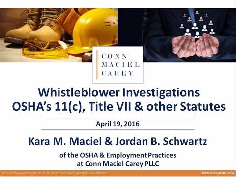 Whistleblower Investigations: OSHA's 11(c), Title VII, & other Statutes
