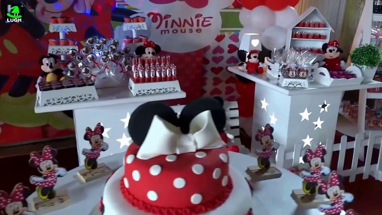 Minnie Mouse Decoraç u00e3o temática provençal simples para festa de aniversário infantil YouTube -> Decoraçao De Festa Da Minnie Vermelha Simples