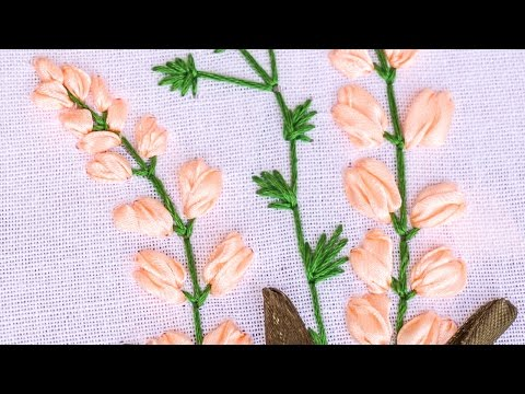 Hand Embroidery | Flower Pattern with Ribbon, Cotton Floss Threads