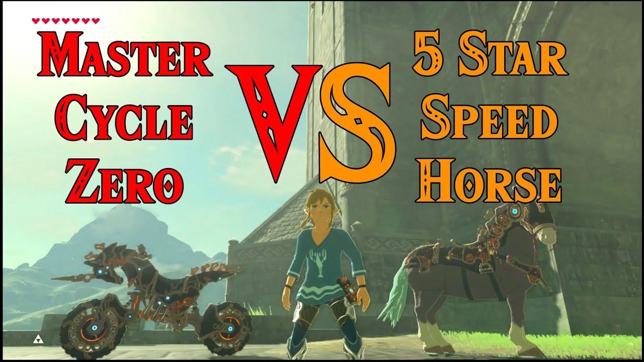 Zelda Breath Of The Wild Master Cycle: Master Cycle Zero VS 5 Star Speed Horse! Hylia Bridge