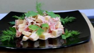 Салат грибной с сыром и помидорами