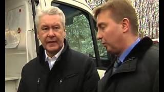 Смотреть видео Мэр Москвы посетил АЗС «Газпромнефть» онлайн