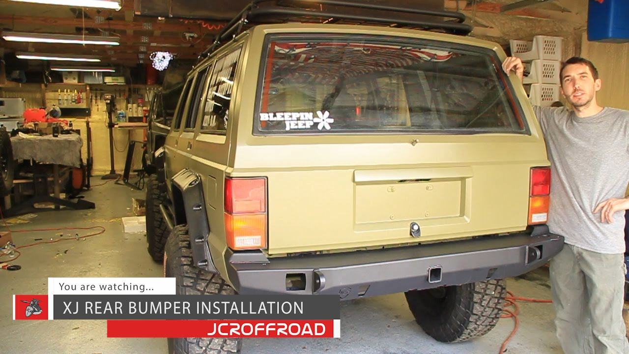 Jcroffroad Cherokee Xj Rear Vanguard Bumper Installation By Jeep Aftermarket Fog Lights Bleepinjeep Youtube