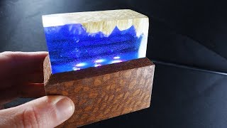 Epoxy L.E.D. Night Lamp - Wi-Fi control (Leopardwood and Epoxy Resin)