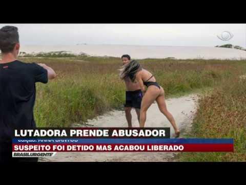 Lutadora de MMA reage e bate em maníaco sexual na praia