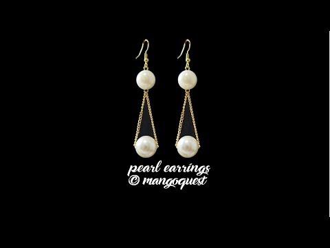 Easy Pearl Earrings Tutorial By Mangoquest