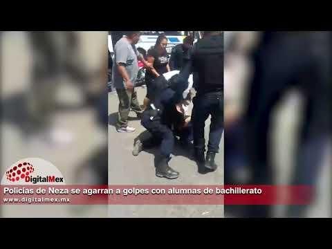 Policías de Neza se agarran a golpes con alumnas de bachillerato
