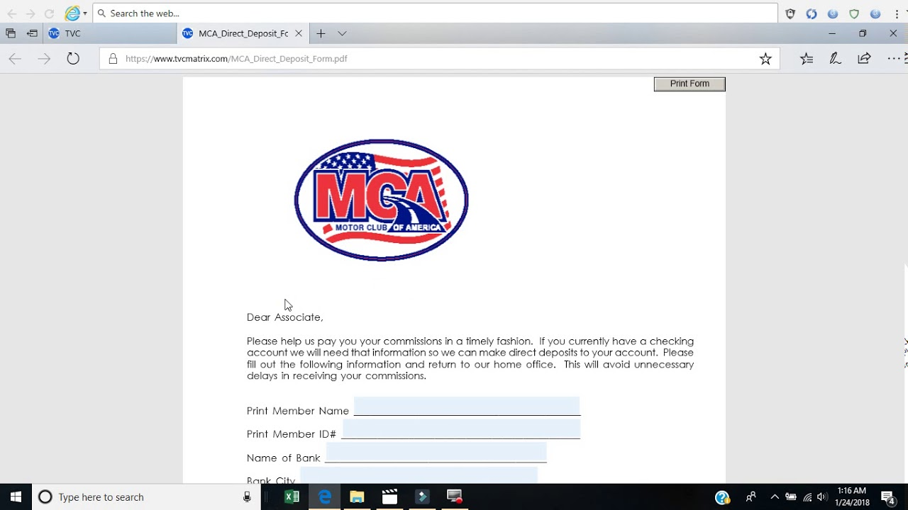 deposit form mca  How to fill out Direct deposit form