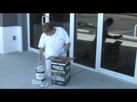 Applying concrete floor coating Granitex from Lowe's