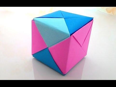 Origami 3D Cube...พับกระดาษ เป็นลูกบาศก์ 3 มิติ...