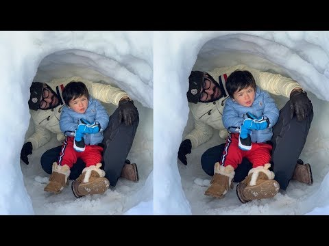 Prince Taimur Ali Khan looking cute playing in SNOW with Dad Saif Ali Khan in Switzerland