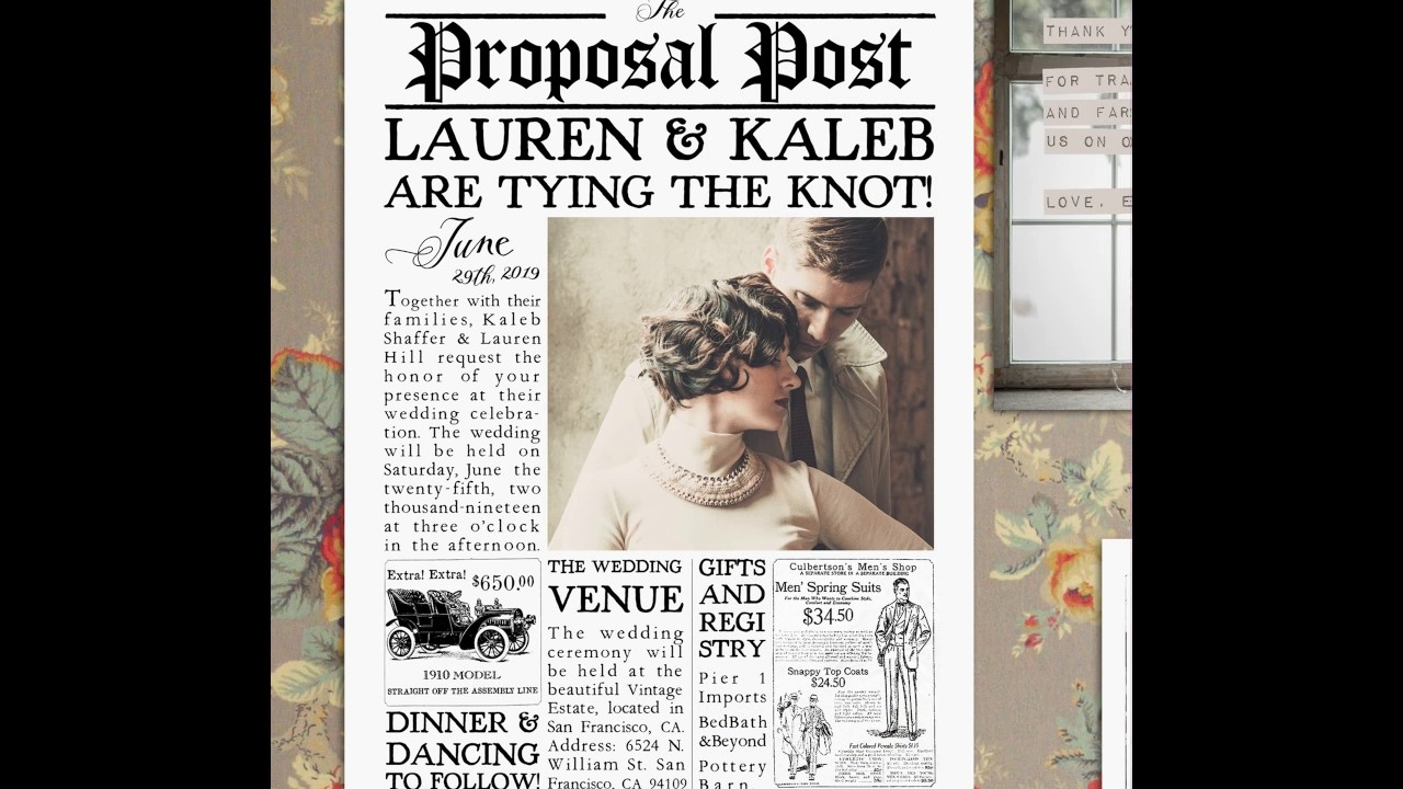Printable, Vintage Newspaper-Style Wedding Invitations! - YouTube