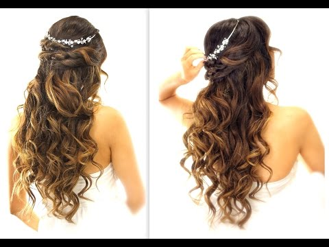 Easy Wedding Half Updo Hairstyle With Curls