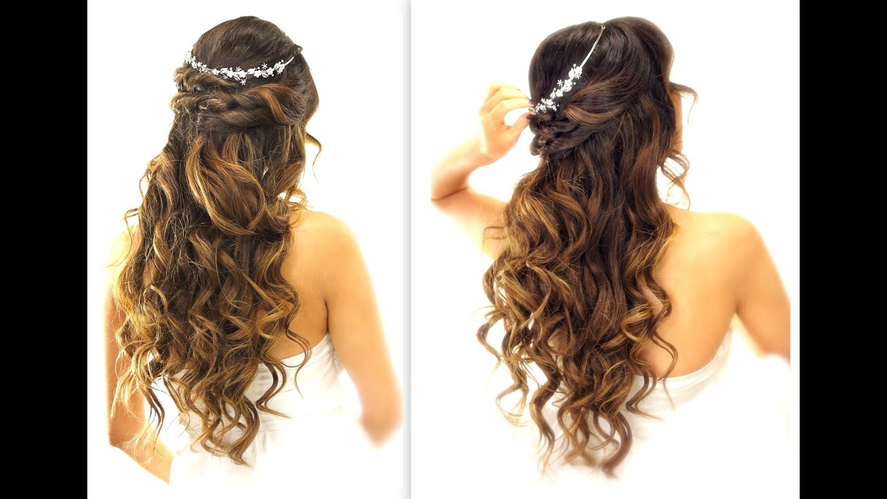Medium Hair Curly Styles: EASY Wedding Half-Updo HAIRSTYLE With CURLS