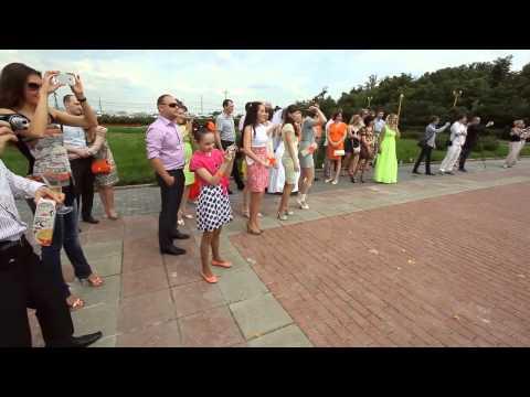Свадебный флешмоб с молодоженами на Воробьевых горах