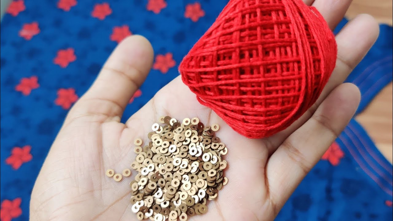 Anchor thread और small ring से बनाए एकदम सुंदर गले का  Design /Beautiful neck design very easily