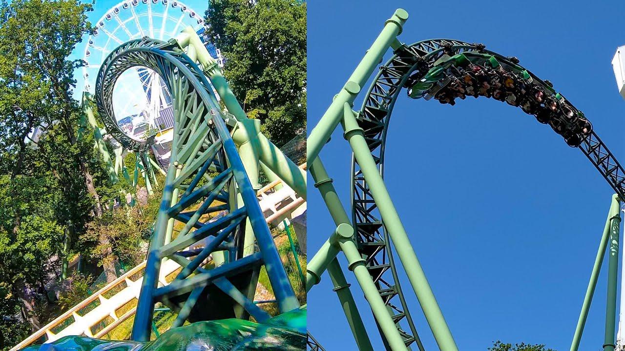 Riding Helix Roller Coaster! Multi Angle 4K POV! Liseberg Sweden Amusement Park
