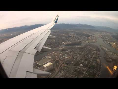 Landing at Vancouver International Airport - WestJet Airline HD