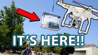 DRONE DELIVERY Prank & Experiment! Public Reaction!