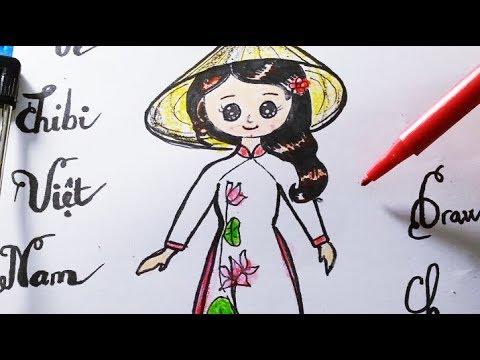 Vẽ Chibi Cô Gái Việt Nam dễ nhất/Dạy Bé Học Vẽ Áo Dài Việt Nam Ngày Tết /Draw Chibi cute