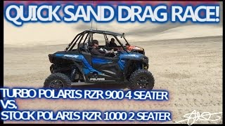 Drag Race in the Sand - Turbo Polaris RZR 900 4 Seater vs. Stock RZR 1000 2 Seater