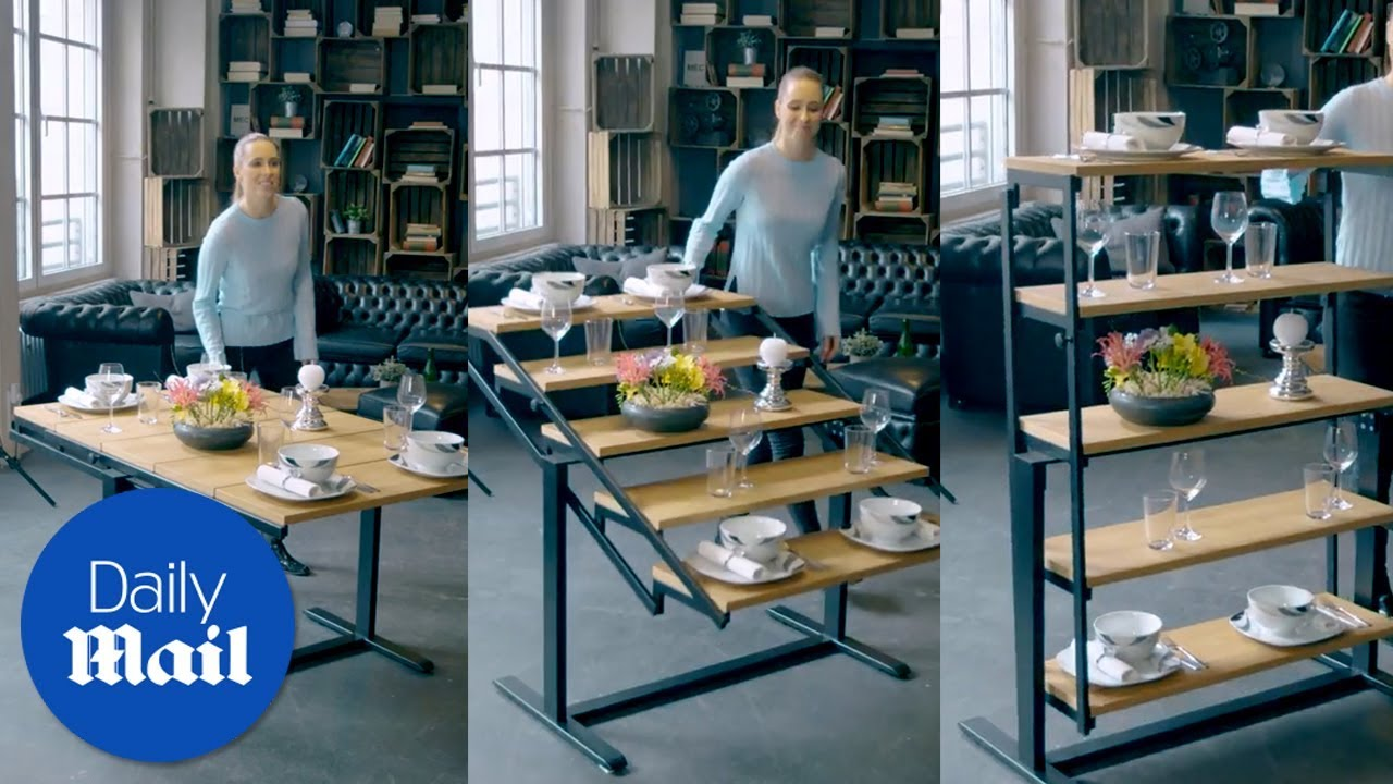 vieco table turns into shelves in seconds daily mail youtube