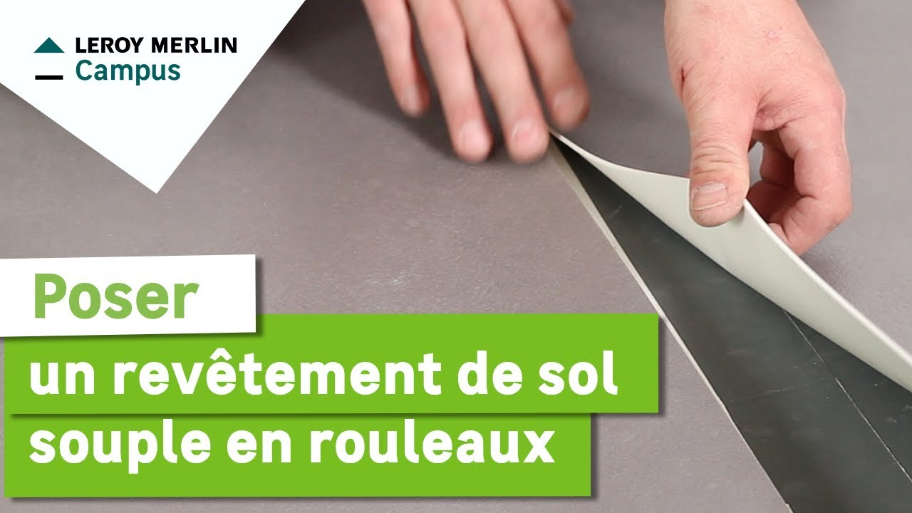 Comment poser un revetement de sol souple en rouleaux leroy merlin youtube - Lino pvc imitation parquet ...
