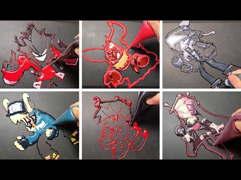 FRIDAY NIGHT FUNKIN - Pancake art Challenge/Agoti, Tabi, Hell Clown, Boy Friend, Ruv, Sarv, FNF, 프나펌
