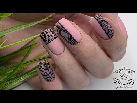 Дизайн ногтей 2018 черно белый