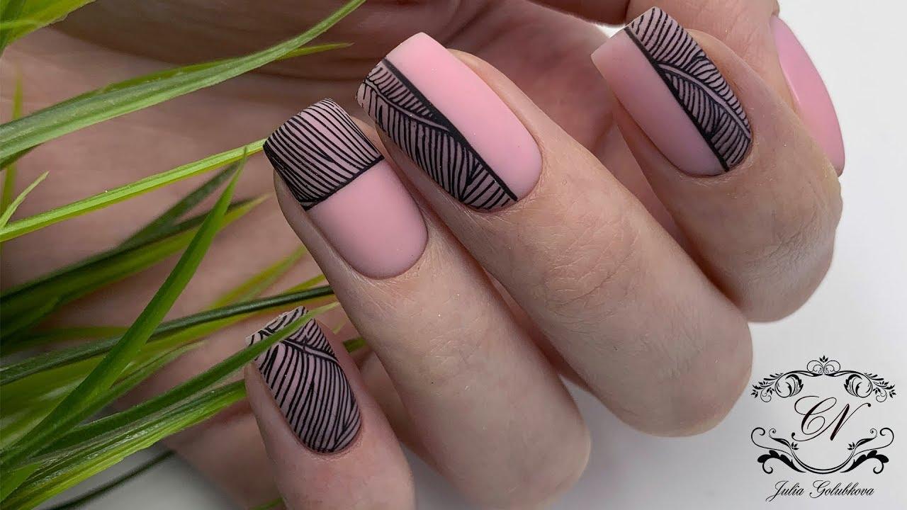 СТИЛЬНЫЙ дизайн ногтей 25.Чёрно-белый СТЕМПИНГ.