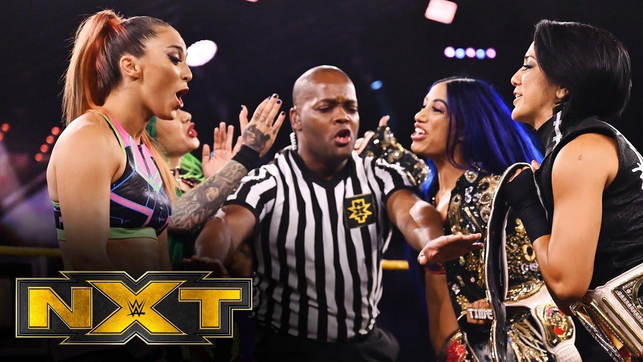 Bayley and Sasha defend against Tegan Nox and Shotzi Blackheart