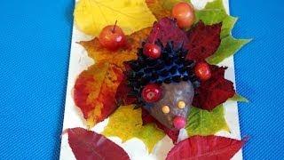 Ежик из семечек и пластилина. Осенняя поделка из природного материала в детский сад и школу.