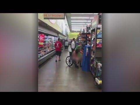VIDEO: Naked homeless man harasses shoppers in supermarket