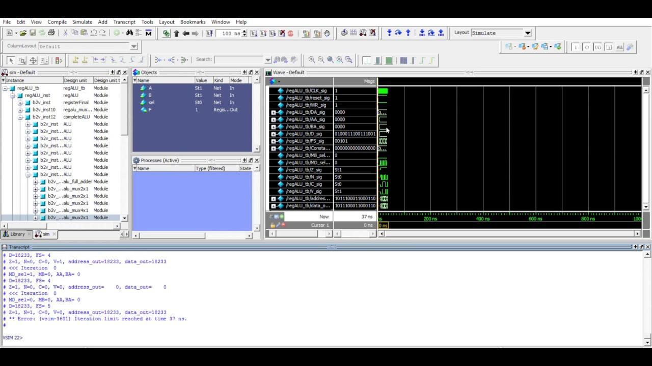 CompArch - Data Path (Reg+ALU) ModelSim Testbench Verification