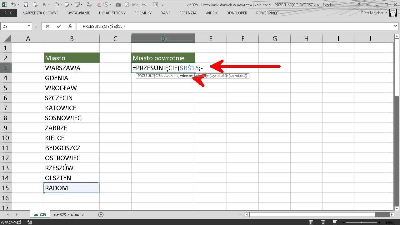 Excel 329 Ustawianie Danych W Odwrotnej Kolejności Przesunięcie Wiersz