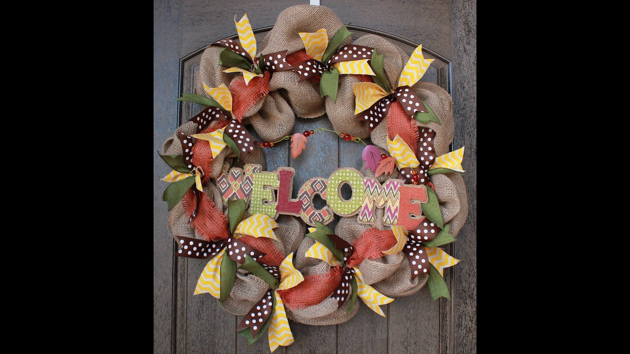 burlap wreath tutorial part 2 i adding ribbon youtube