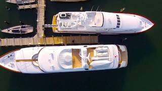 First Yachts of Spring in Sag Harbor Aerial