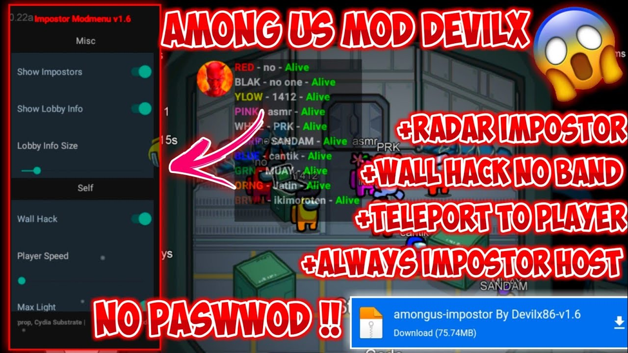 Cheat Among Us Terbaru !! Mod By Devilx86 Radar Impostor,Fake Impostpr NO PASWWOD 100%WORK !!