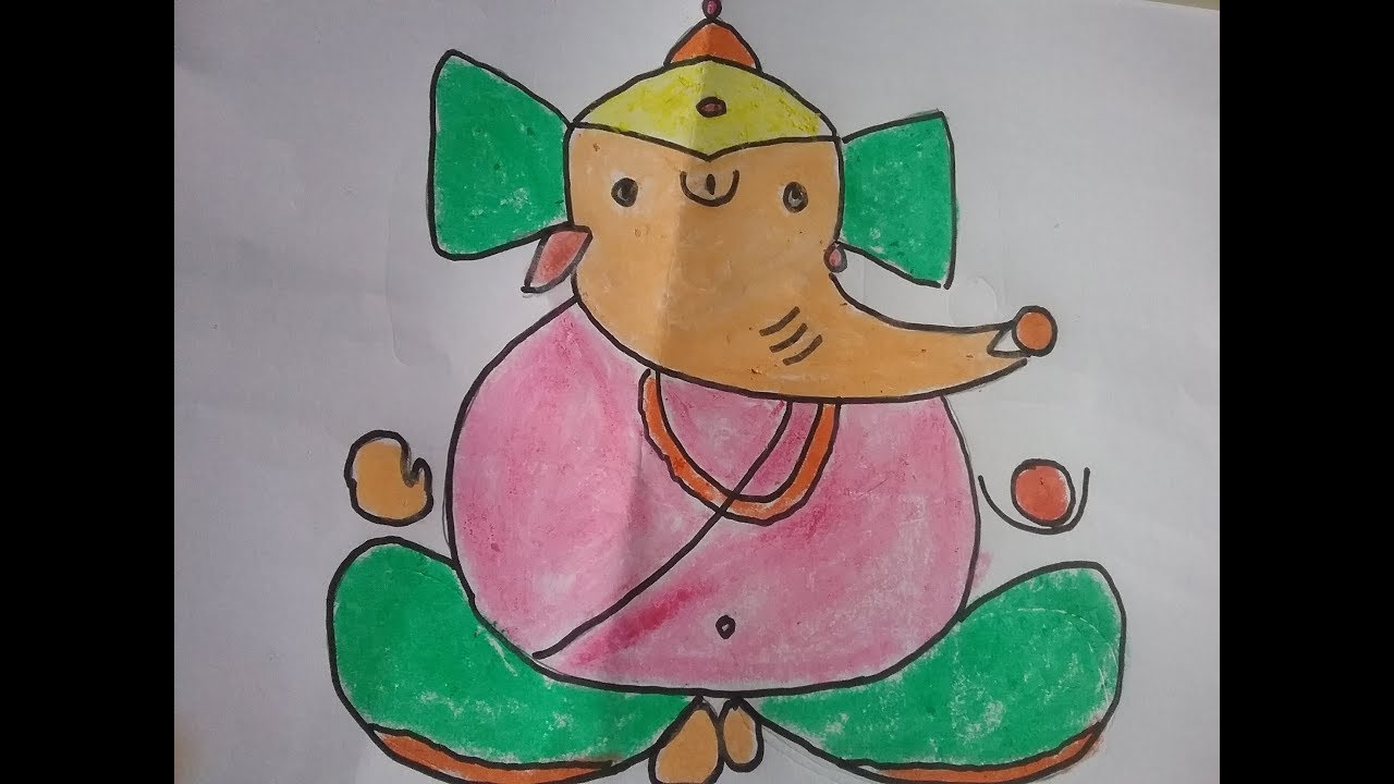 Lord Ganesh Drawing for kids, Simple Ganesha drawing for ...