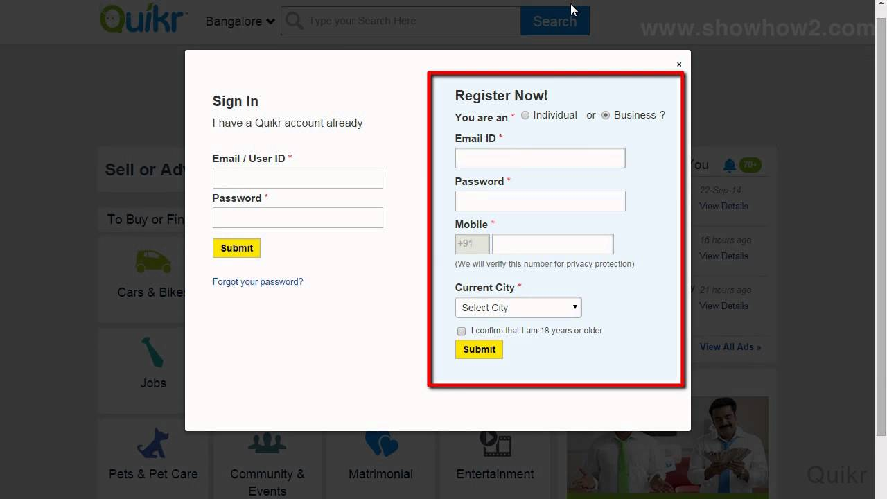 Quikr How To Create An Account Youtube